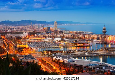 Panorama of Barcelona with Port in night time. Catalonia, Spain