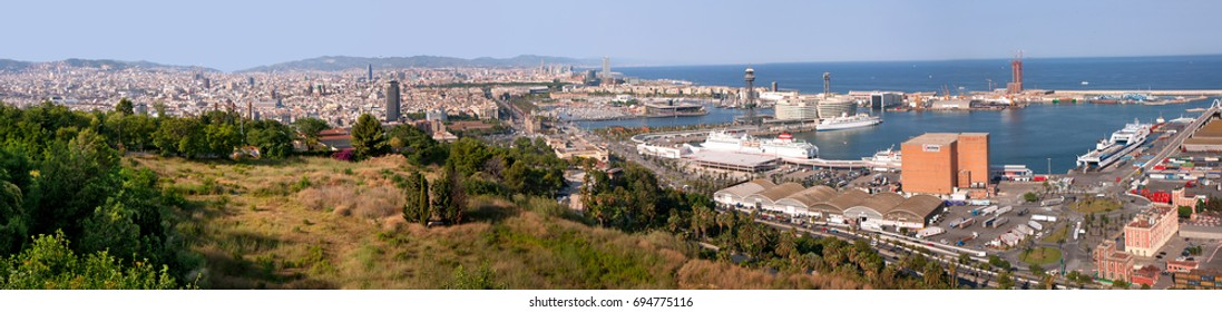 Panorama Of Barcelona. Spain. 17 July 2008.