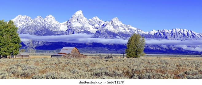 Panorama of Barn and Grand Teton and the Teton Range, a popular peak to climb for mountain climbers in Grand Teton National Park, Wyoming, USA