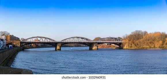 Panorama of Barnes Railway Bridge, over the River Thames, London, UK