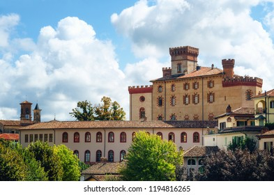 Panorama of Barolo (Piedmont, Italy) with the town and the medieval castle. Barolo is the main village of the Langhe wine district