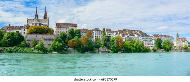 Panorama Basel the city on river in Switzerland - Skyline of Basel