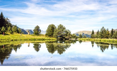 Panorama of the bassa d'Arres pond in the Aran Valley, Spain