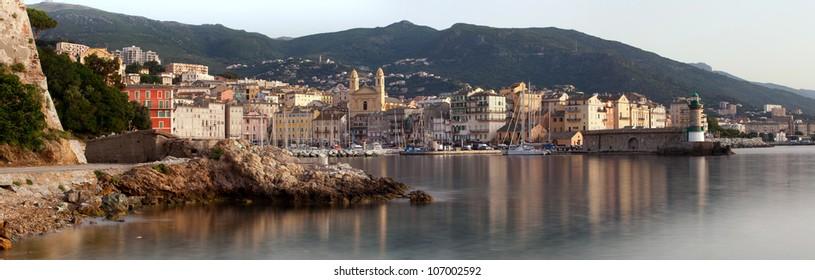 Panorama of Bastia port in Corsica island, France