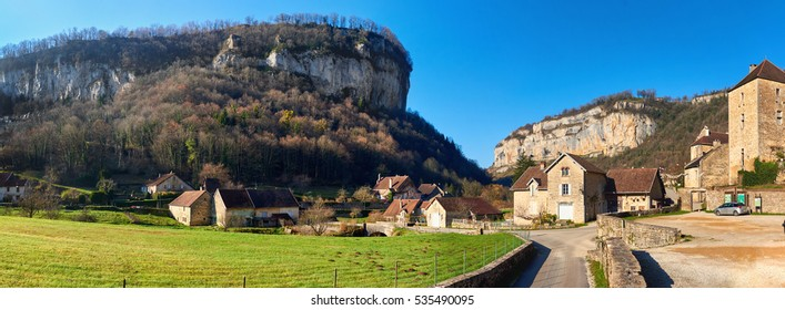 Panorama of a Baume-les-Messieurs village.  Jura department of Franche-Comte. Baume-les-Messieurs is classified as one of the most beautiful villages of France