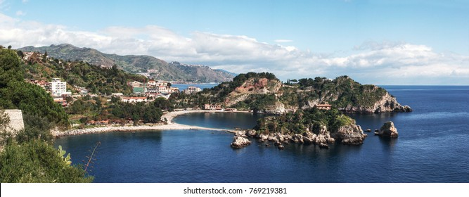 Panorama of the bay at the City of Taormina in the provice Messina at the mediterranean sea, Beautiful bay area, Sicily, Italy