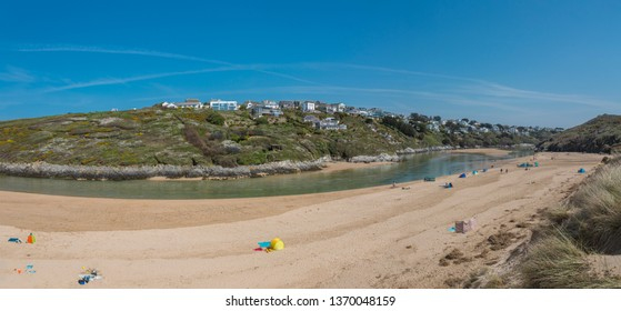 Panorama Bay of Crantock Beach in Cornwall