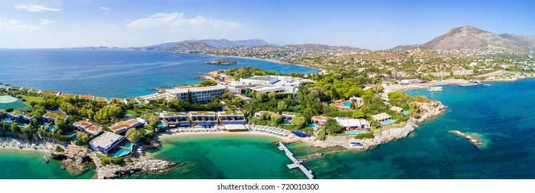 Panorama of the bay of Lagonisi, in Attica close to Athens, Greece, with turquoise waters and white beaches