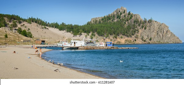 Panorama of the bay Peschanaya on Lake Baikal, August 16, 2007