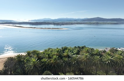 Panorama of the bay of Santander with the Beach of the Prop and Somo of fund