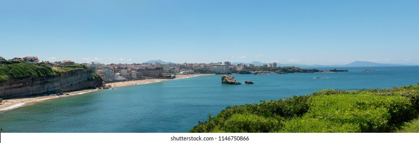 a panorama of the beach of Biarritz city, France
