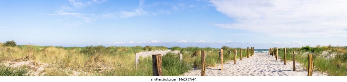 Panorama beach and dunes baltic sea