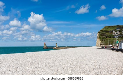 Panorama of beach in Fecamp, France.