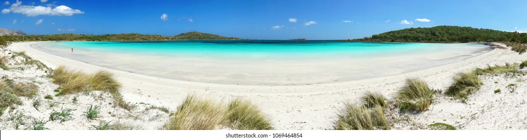 panorama beach lagoon Cala Brandinchi, most beautiful beach of Sardinia