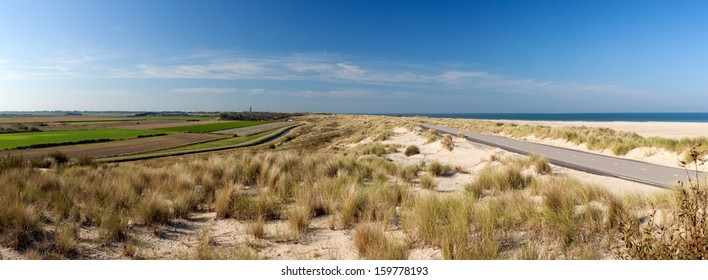 Panorama of beach near Ouddorp in South Holland, the Netherlands.