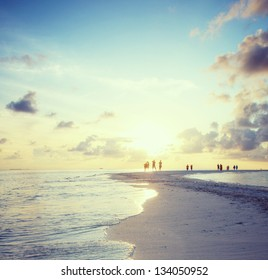 Panorama of beach on Maldives in dusk