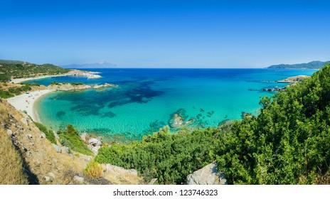 Panorama of beautiful beach lagoon in the coast of Halkidiki, Greece.
