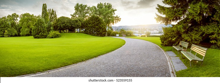 Panorama of a beautiful city park - Shutterstock ID 523559155