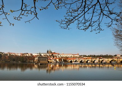 Panorama of the beautiful city of Prague with the Vltava river in the Czech Republic