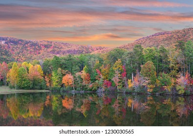 Panorama of the Beautiful Fall Foliage Reflected in the Lake at Cheaha State Park, Alabama