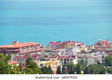 Panorama of the beautiful houses and red roofs, the sea of the Balkan mountain Bulgaria summer resort