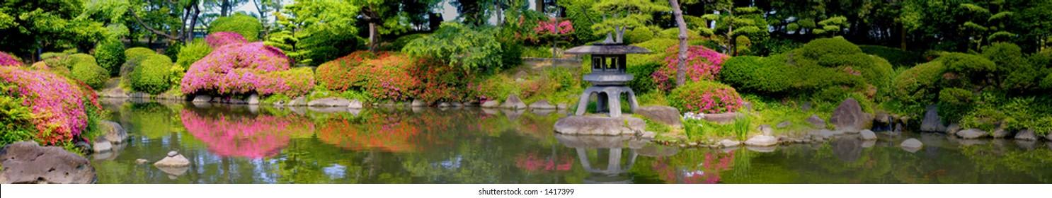 Panorama of beautiful japanese garden