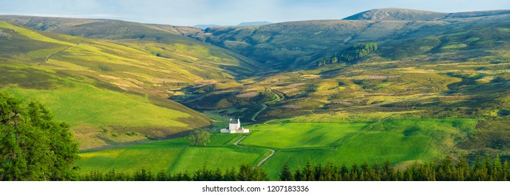 Panorama Of Beautiful Landscape Of Scotland, Corgarff Castle In Cairngorms National Park