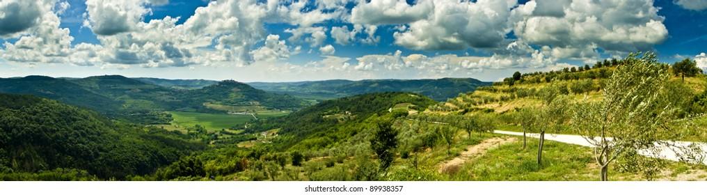 Panorama of beautiful Motovun and hills