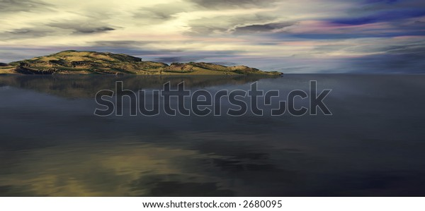 A panorama of a beautiful mountain and ocean landscape