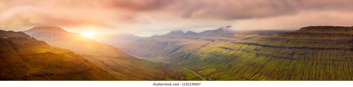 Panorama Of Beautiful Mountain Scene And Sunset In Faroe Islands, Sunrise Over Mountain In Faroe Islands