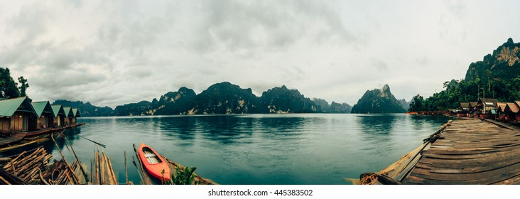 panorama Beautiful mountains and river natural attractions in Ratchaprapha Dam at Khao Sok National Park, Surat Thani Province, Thailand
