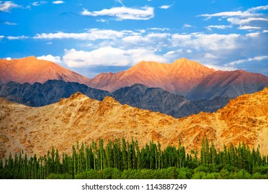 Panorama of the beautiful mountains that surround Leh at sunset, View from sindhu ghat - Ladakh, Jammu and Kashmir, India.