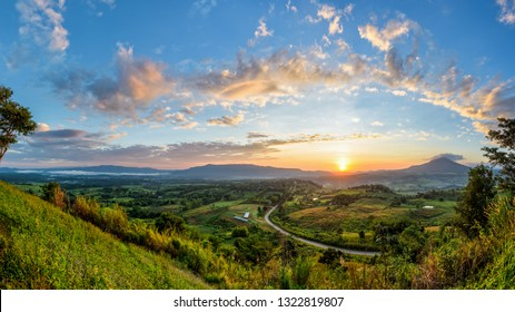 Panorama beautiful nature landscape of the colorful sky and mountains during the sunrise at Khao Takhian Ngo View Point, Khao Kho attractions in Phetchabun, Thailand