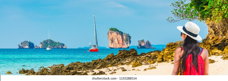 Panorama beautiful nature landscape of Tub island with traveler woman joy relaxing on beach, Krabi, Travel Phuket Thailand, Tourism destination place Asia, Tourist girl on summer holiday vacation trip