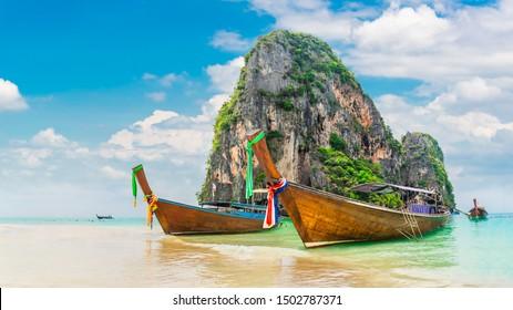 Panorama beautiful nature scenic landscape Ao Nang beach island with boat for traveler, Attraction landmark tourist travel Krabi Phuket Thailand summer holiday vacation trips, Tourism destination Asia