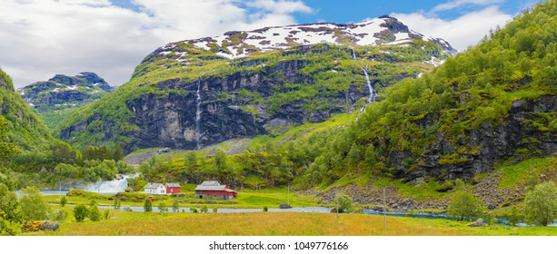 Panorama of Beautiful Norwegian Scene,The Typical Norwegian village, Mountain In Background, Flam, Norway