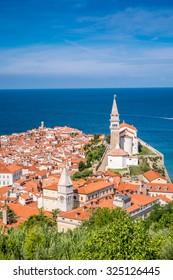 Panorama of beautiful Piran over Adriatic Sea, Slovenia
