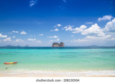 Panorama beautiful sea, sky, cloud and beach. Far away island. Summer traveling in Thailand