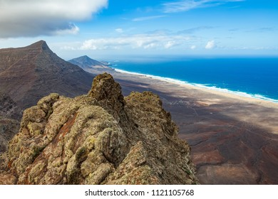 Panorama of a beautiful seascape from the highest point of the Fuerteventura island, Pico de Zarza, Canary islands, Spain. Top view