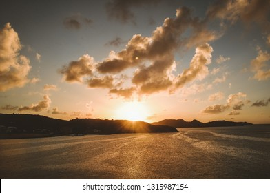Panorama of beautiful sunset on the ocean. Sunrise over the sea and beautiful cloudscape. Beautiful cloudscape over the sea, sunrise shot