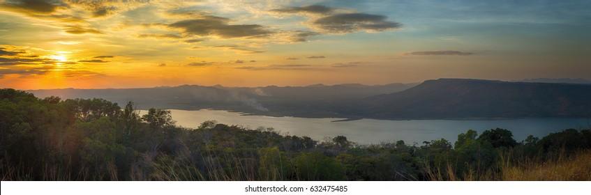 Panorama Beautiful sunset over lake at Lam Ta Khong Reservoir, Nakhon Ratchasima province, Thailand.