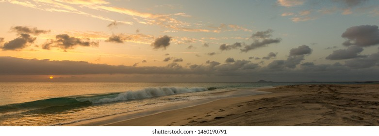 Panorama of beautiful sunset at seascape in Sal island, Cape Verde, Cabo Verde