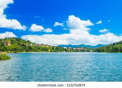 Panorama of beautiful town of Fuzine on Lake Bajer, Gorski kotar, Croatia