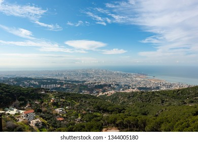 Panorama of Beirut skyline, from Meitn in Lebanon. Achrafieh buildings and the Mafaa port appear on the Mediterranean shore.