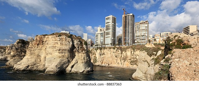 Panorama of Beirut's coastline at the famous Pigeon Rocks (Raouche) Lebanon