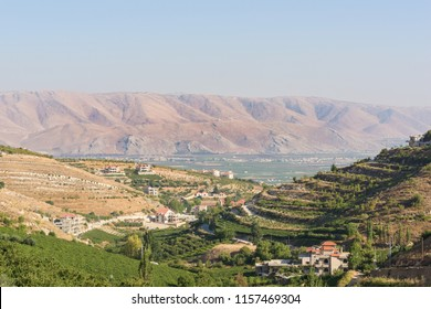 Panorama of the Bekaa Valley landscape over Fourzol, Lebanon.