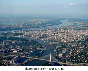Panorama of Belgrade with river Sava and Danube