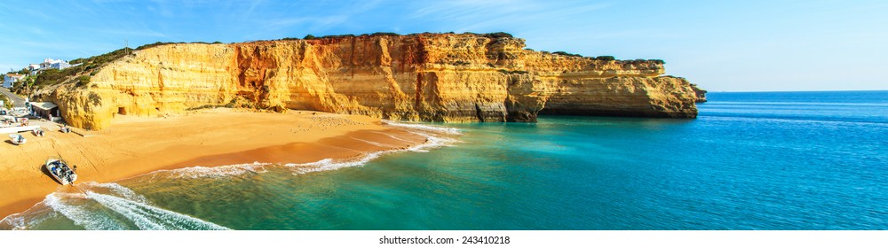 A panorama of Benagil beach in Algarve region, Portugal, Europe