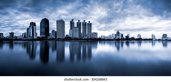 Panorama of Benchakitti Park, Bangkok Thailand