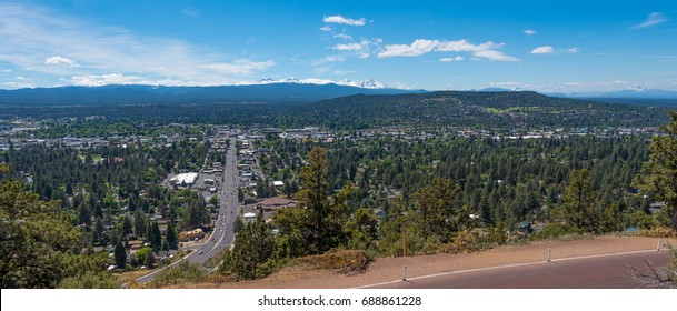 A panorama of Bend from Pilot Butte State Park